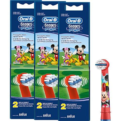 Braun Oral-B Stages Power Kids EB10-2K Lot de 6 têtes de brosse à dents pour enfant Motif Mickey Mouse