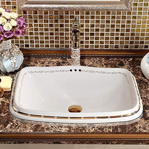 Lavabo sobre encimera Lavabo rectangular Lavabo sobre encimera de cerámica Lavabo rebosadero Lavabo bajo encimera