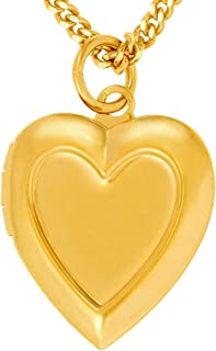 Locket Necklace [ Inlaid Heart Gold Locket ] 20X More 24k Plating Than Other Photo Lockets - Heart Pendant for Women Girls and Kids with Complimentary 18 inch Link Chain Necklace