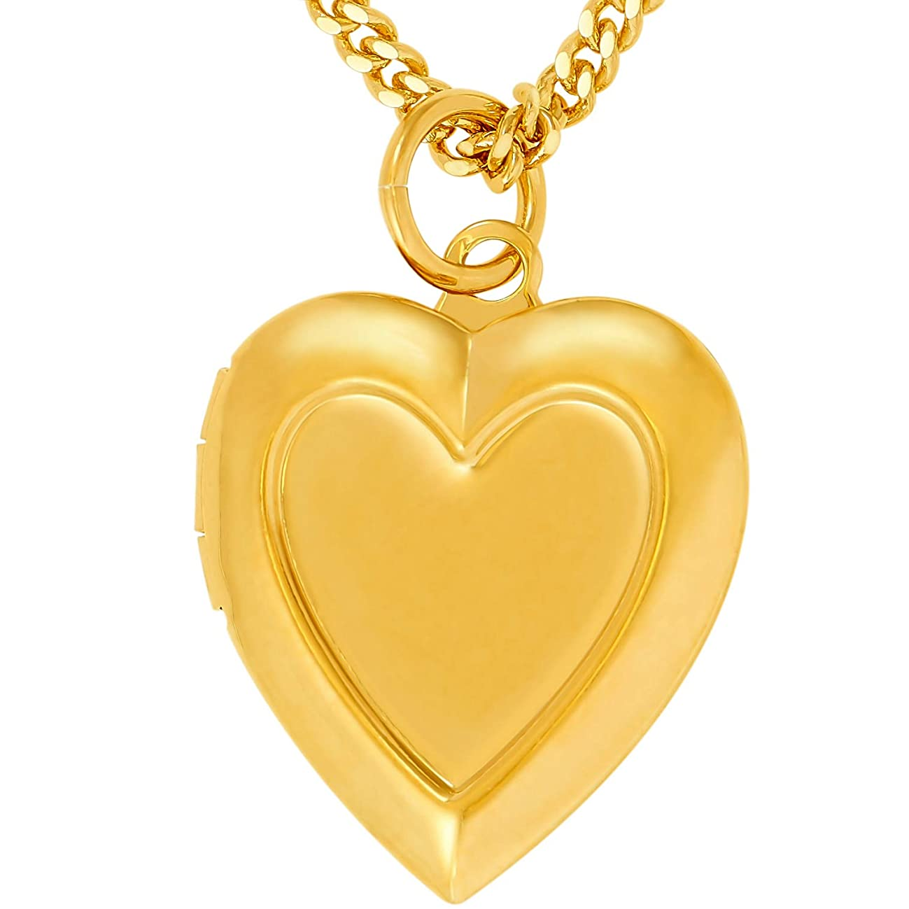 Lifetime Jewelry Locket Necklace [ Inlaid Heart Gold Locket ] Up to 20X More 24k Plating Than Other Photo Lockets - Heart Pendant for Women Girls and Kids with Complimentary 18'' Link Chain Necklace