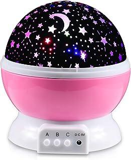 Lampara estrellas proyector,Lampara Proyector Infantil, 360° Rotación y 8 Modos Iluminación Proyector Estrellas, Luz de Nocturna para Niños y Bebés Cumpleaños, Día de los Reyes, Navidad, Halloween