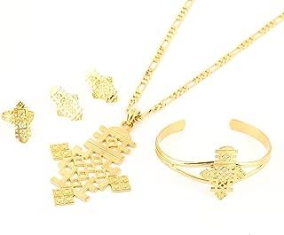 Ethiopian Jewelry Pendant Necklace Chain Earrings Bangle Ring Set Coptic Crosses African Cross