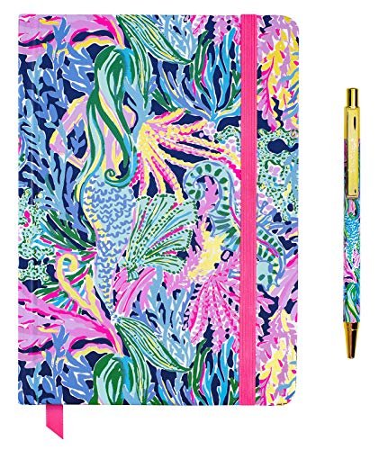 Lilly Pulitzer Bound Journal with Black Ink Pen, Writing Set Includes Lined Notebook with 128 Pages and Matching Click Pen, Bringing Mermaid Back