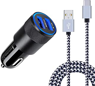 Quick Charge 3.0 Fast Car Charger Compatible Samsung Galaxy S20 Ultra S20+ S10e S10 S9 S8 Plus, Note 20 10 9 8, A50, LG G5 G6 V20 V30, Moto G7, Car Phone Adapter + 6ft USB Type C Charging Cable Cord
