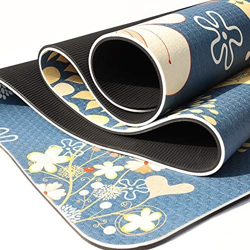 TIMAW TPE Estera de Yoga Impreso Doble protección Ambiental Yoga Mat Sports Fitness Mat Home (Color : Red Dust Painting)
