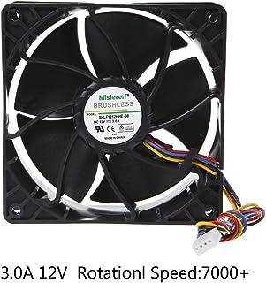 KOFUN Ventilador, Ventilador 12038 3A 12V Rodamiento De Bolas Doble Aire Violento Viento Sin Escobillas 4 Pines 4 Cables Conector Miner Cooler Pfc1212De
