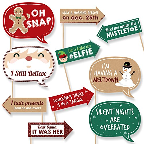 FuHoliday & Christmas Party Photo Booth Props - 10 Piece
