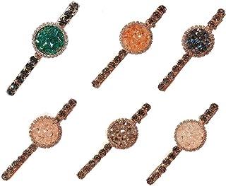 6 PCS Sparkly Crystal Hair Clip Word Barrettes Pins Bling Handmade Luxury Hair Jewellery Headwear Accessories for Women Girls(6 Pcs Large Size Rhinestone Hair Alligator Clip) (6 PCS)