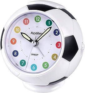 Alarm Clock Analogue for Kids Bedside Alarm Clock Non Ticking Travel Alarm Clocks Battery Operated with Nightlight Snooze Bedroom Office Alarm Clocks (Black)