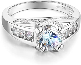 Wellingsale Ladies Solid 14k Yellow -OR- White Gold CZ Cubic Zirconia Round Cut Engagement Ring with Side Stones