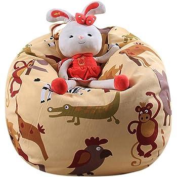 Kids Stuffed Animal Plush Football Toy Storage Bean Bag Soft Pouch Stripe Fabric Chair hunpta Kids Bean Bag