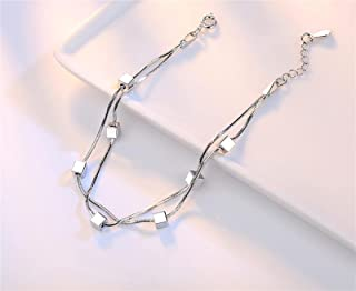هدية 925 سوار من الفضة الاسترلينية للنساء 2 قطعة مربع سلسلة نجمة سحر سوار امرأة يانجين (اللون: النمط 2)