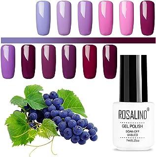 ROSALIND pure color series gel nail polish set purple green pink 12pack 7 ml