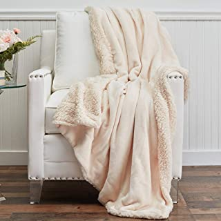 The Connecticut Home Company Micromink Velvet with Sherpa Reversible Throw Blanket, Many Colors, Soft Large Wrinkle Resist...