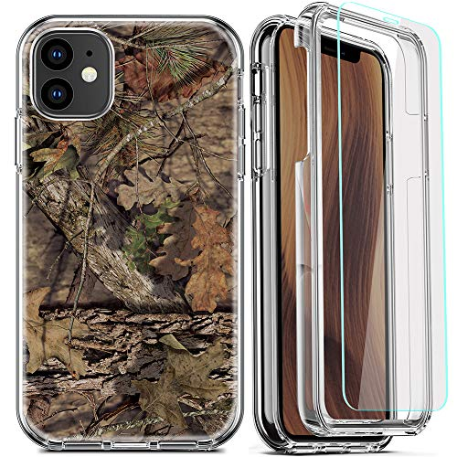 DecaStars for iPhone 11 Case, Clear Phone Case with [2 x Tempered Glass Screen Protector] Shockproof 360 Full Coverage Hard PC Soft Silicone TPU 3in1 Military Standard Protective Cover #16 Camouflage