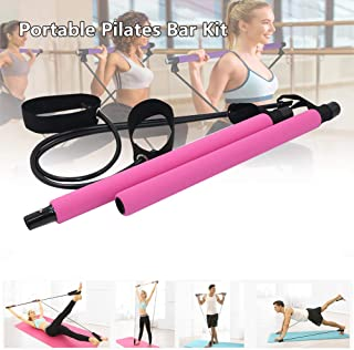 Portable Pilates Bar Kit with Resistance Band,  Portable Home Gym Workout Package, Resistance Band and Toning Bar Yoga Pilates Stick Yoga Exercise Bar with Foot Loop for Total Body Workout by Yoruii