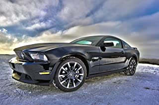 LAMINATED 36x24 inches Poster: Ford Mustang Auto Vehicle Muscle Automotive American Sport Coupe Gt V8 2011 Sports Car Motorsport Racing Car California Special Black K̦Terberg Germany Winter Hdr