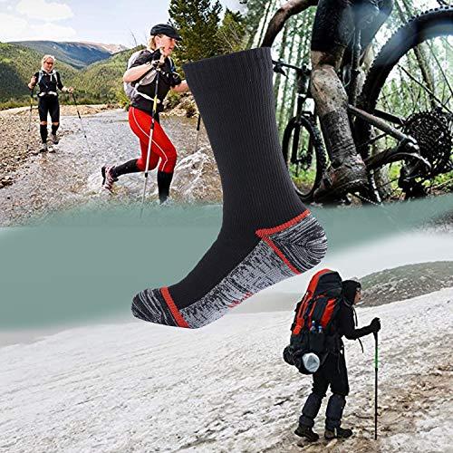 VFAMAN Waterproof socks for MEN & WOMEN. For outdoor activities 100% waterproof breathable windproof golf skating cycling hiking fishing (Gray, XL(UK12-14)/ EU(47-49))