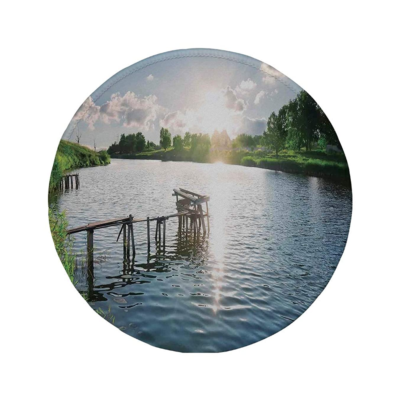 Non-Slip Rubber Round Mouse Pad,Lake House Decor,Broken Wooden Pier on a River at Sunrise in Mediterranean Rurals Nature Art Photo,Blue Green,11.8