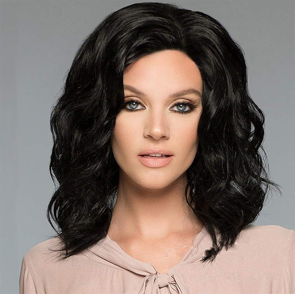 土地若いワーディアンケース女性150%密度ウィッググルーレスショートボブヘアウィッグ波状で少しベビーヘアブラック35cm