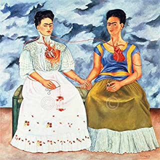 The Two Fridas 1939 by Frida Kahlo Portrait Woman Famous People Spanish Poster, Overall Size: 22x20, Image Size: 16x16