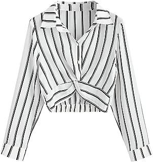 Women's Casual Blouse Button Down Shirts Daliywear Striped Tops