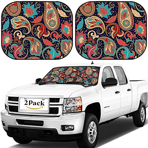 MSD Car Windshield Sun Shade, Universal Fit, 2-Piece for Car Window SunShades, Automotive Foldable Protector Cover, Image ID: 38867417 Paisley Seamless Ethnic Decorative Pattern Best for Fabric Texti