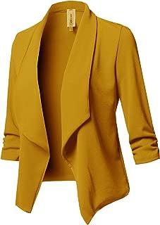 Women's Stretch 3/4 Gathered Sleeve Open Blazer Jacket
