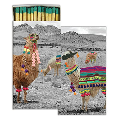 HomArt Large Decorative Llama Candle and Fireplace Wood Matches (Set of 3)