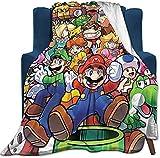 LIYIMING Kuscheldecke Anime Super Mario Sofadecke Mittagspause Soft Home Bettdecke Reisepicknick Decke Deko (Mario 5,130x150cm)