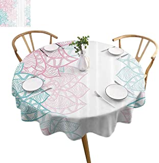 UETECH Overlays Round Tablecloth Floral Large Flower Petal in Pastel Tone Elegance Spring Beauty Embellished Design Sky Blue Light Pink Parties Wedding Patio Dining D60