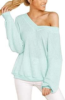 COCOLEGGINGS Women's V-Neck Long Sleeve Waffle Knit T-Shirt Off Shoulder Tops