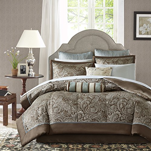 Madison Park Aubrey King Size Bed Comforter Set Bed In A Bag - Blue, Brown, Paisley Jacquard – 12 Pieces Bedding Sets – Ultra Soft Microfiber Bedroom Comforters