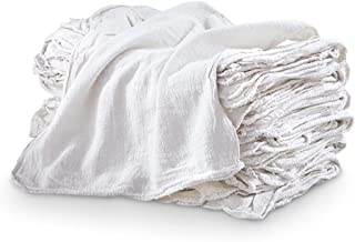 """100 Pack - Auto Shop Rags & Wash Towels - 100% WHITE COTTON - LARGE 14"""" x 14"""" Size Eco Commercial Grade - Can be Used for Grease, Oil, Fluids, Wood Stains & More! Great For Dirty Car Engines and Rims!"""