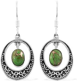 Pendientes de plata para regalo de verano, Pendientes colgantes, Pendiente turquesa verde oval, Pendientes colgantes Plata Aretes, Sterling Silver Earrings for Women