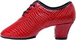 Aiweijia Latin dance shoes Adult Lacing Ballroom dancing Shoes Women's Fashion Mid heel shoes