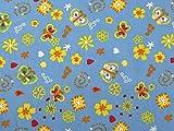 Floral & Schmetterling Print Kleid aus Baumwolle Stoff
