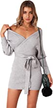L'ASHER Women's Deep V Neck Batwing Long Sleeve Backless Bodycon Pencil Dresse with Belt