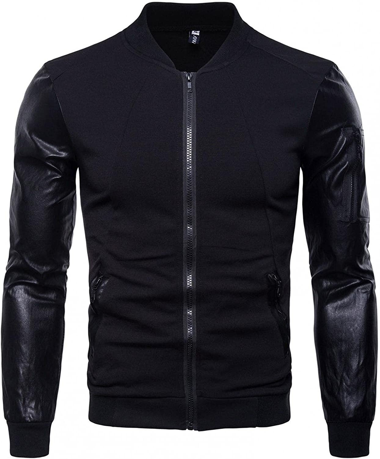 JSPOYOU Men's Stand Collar Jackets PU Leather Sleeves Softshell Splicing Zipper Motorcycle Coat Lightweight Slim Jacket