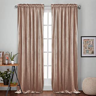 RYB HOME Velvet Curtains 96 - Living Room Window Drapes Insulate Heat or Cold Privacy Pleated Shades for Kids Nursery Hotel Apartment Office School Dorm, Wide 52 x Long 96, Brownish Pink, 2 Pcs