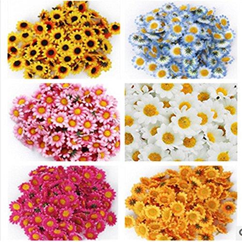 ETbotu - 100 flores artificiales de 4 cm, diseño de margarita blanca con centro amarillo para bodas, fiestas, decoración del hogar, bricolaje