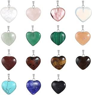 20pcs Heart Stone Pendant Healing Crystal Stone Meditation Chakra Quartz DIY Stone Random Color Gemstone Pendants for Necklace Earring Jewelry Making