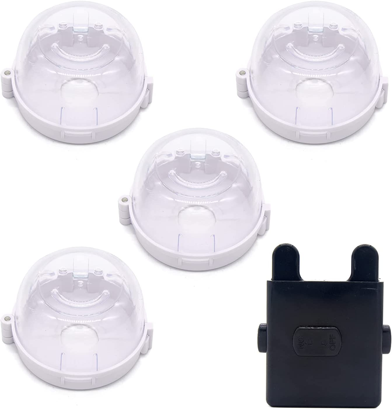 4 Pack Stove Knob Covers, Universal Kitchen Stove Knob Cover Comes with 1 Oven Lock, Gas Stove Knob Protection Locks for Child Baby Kids Safety