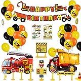 MMTX Decoracion Cumpleaños Globos de Feliz Cumpleaños Primer Cumpleaños Niño 1 año con Guirnalda Cumpleaños, Vehículo Camión Bomberos Globo de Aluminio, Suministros para Fiestas de Construcción(58pcs)
