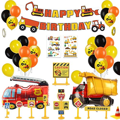 MMTX Bagger Kinder 2 Jahre Happy Birthday Deko Luftballons Geburtstagsdeko Jungen 1 Jahr mit Happy Birthday Girlande mit Folienballon für Babyshower Boy 3 5 10 Kindergeburtstag Dekoration(58 pcs)
