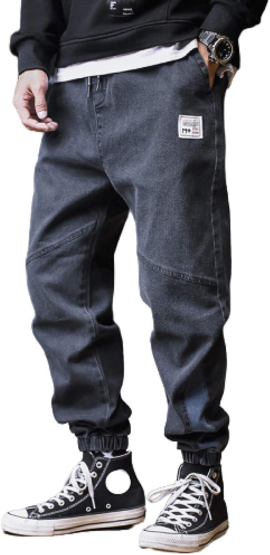 Men's Jeans Loose Tapered Indigo Waist Drawstring Bombing new work Ranking TOP1 Elastic Washed