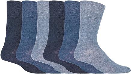 IOMI Footnurse - Mens 6 pack loose non elastic diabetic socks with hand linked toe seams 6-11 uk