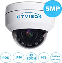 CTVISON PoE PTZ Camera 5.0MP Auto-Focus Security IP Camera 4X Optical Zoom(2.8-12mm) 2.5''Mini CCTV IR Night Vision Pan Tilt Zoom Security Dome Camera for Ceiling Installation