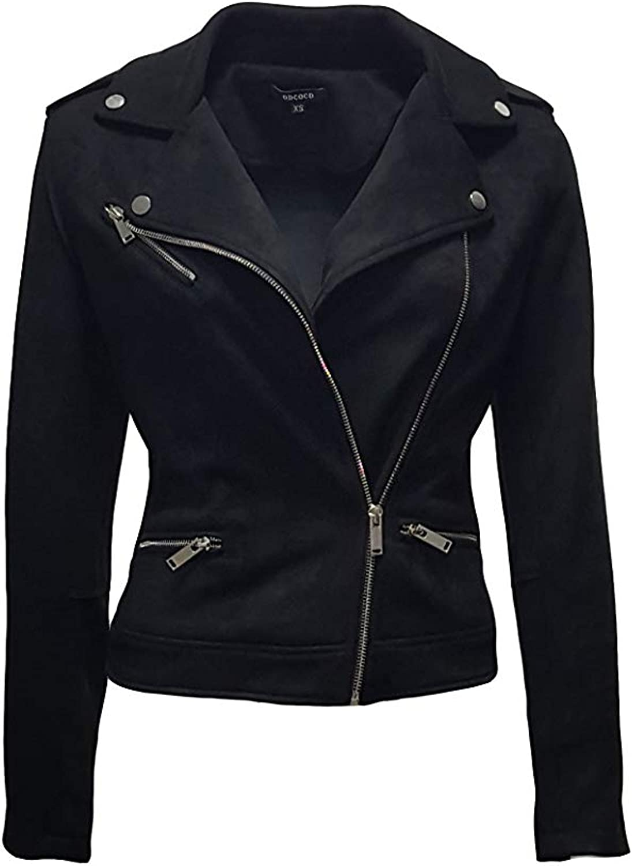 ODCOCD Faux Suede Jacket for Women Long Sleeve Zipper Up Casual Outwear