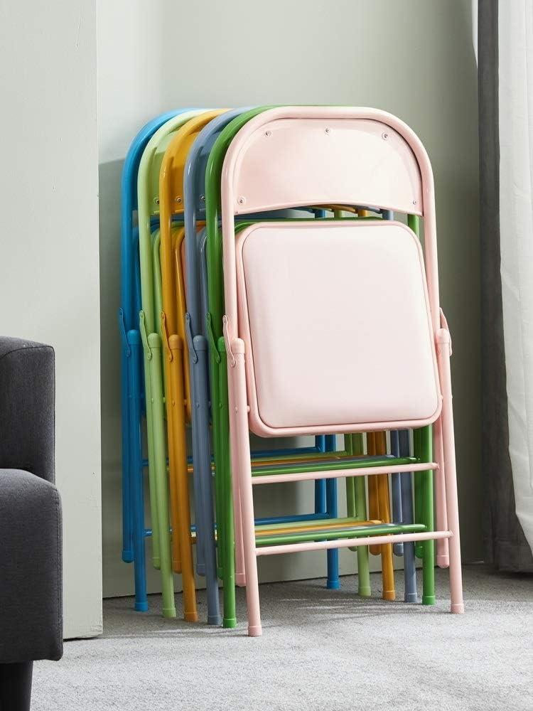 CAO-LIFE Chaise de bureau pliant, rembourré Poids léger, économie d'espace, Cadre d'argent, faux cuir Siège rembourré (Color : 12) 04
